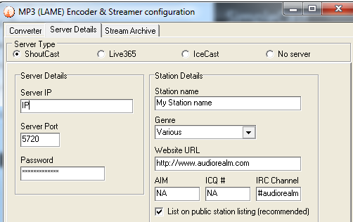 configuration streaming